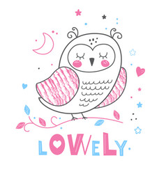 baby print owl pink and blue colors vector image