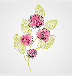 beautiful flower with leafs isolated icon vector image