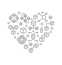Blockchain heart outline block chain icons vector