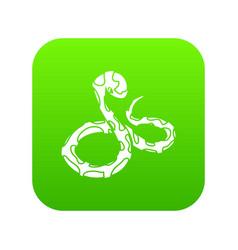 Boa snake icon green vector