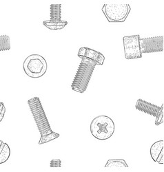 Bolts and screws hand drawn sketch as seamless vector