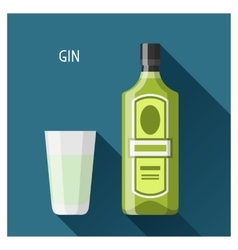 Bottle and glass of gin in flat design style vector image