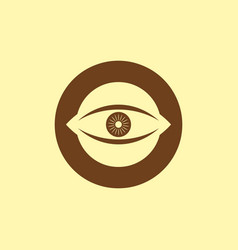 brown o initial letter with eye logo vector image