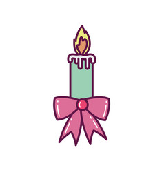 burning candle bow ribbon decoration merry vector image