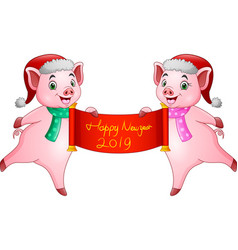 cartoon couples pig santa claus with chinese scrol vector image