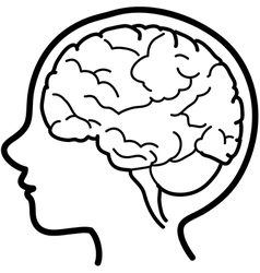Child profile with visible brain vector image