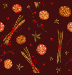 christmas pattern with ingridients for mulled wine vector image