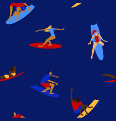 colorful seamless pattern with surfers vector image