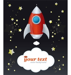 Comic cartoon rocket space ship and text vector