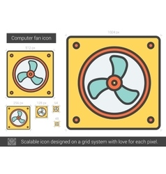 Computer fan line icon vector