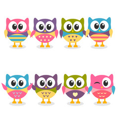 Cute colorful cartoon owls collection on white vector