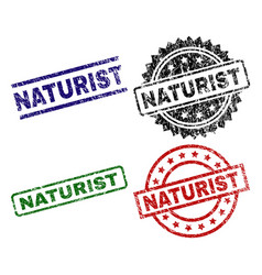 Damaged textured naturist seal stamps vector