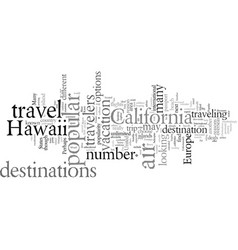 Destinations popular for air travelers vector