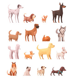 Dog breeds retro cartoon icons collection vector