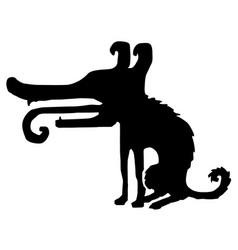 dog cartoon stencil vector image