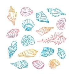 Doodle set of seashells vector