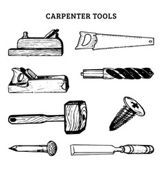 drawing of carpentry tools of vector image