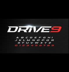 Dynamic letters and numbers set drive alphabet vector