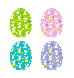 easter bunny and chick pattern eggs vector image