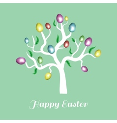 easter tree white Holiday card blue vector image