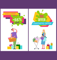 exclusive -55 off and big offer vector image