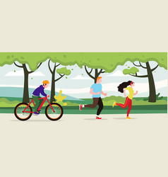 exercise people people jogging in the city park vector image