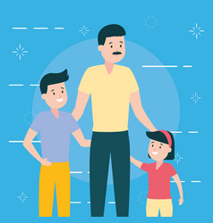 Father with son and daughter vector