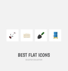 Flat icon garden set of trowel grass-cutter vector