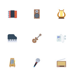 Flat icons lyre radio rhythm motion and other vector