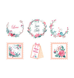 floral frame collection wedding invitation save vector image
