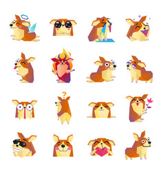 Funny corgi dog cartoon icons set vector