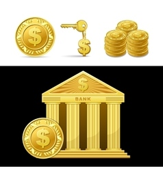 Golden bank with money vector