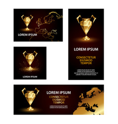 golden low poly champions league cup banners set vector image
