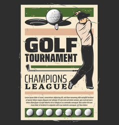 golf champion league tournament retro poster vector image