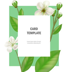 Greeting card template with apple flowers vector
