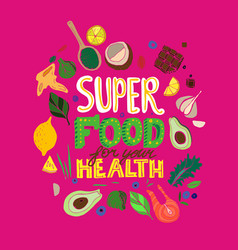 Hand drawn superfoods poster vector