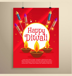 Happy diwali festival greeting card invitation vector