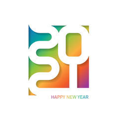 Happy new year 2021 greeting card with carving vector