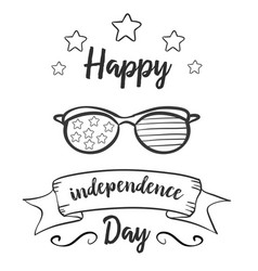 Independence day hand draw greeting card vector