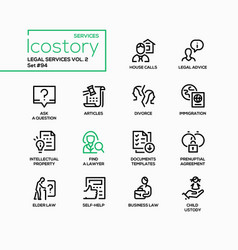 Legal services - line design style icons set vector