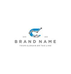 Letter c mountain finance logo design concept vector