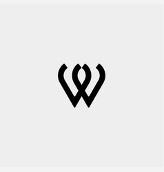 Letter w ww m mm monogram logo design minimal icon vector