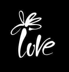 love flower lettering template vector image