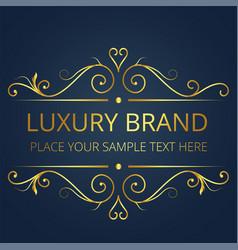 luxury brand gold text template vintage design vec vector image