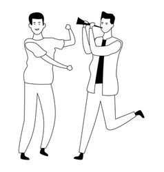male friends having fun in black and white vector image