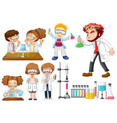many scientists and students doing experiments vector image