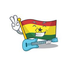 Mascot cartoon flag ghana in with with guitar vector