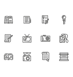Media publishing simple line style icons vector