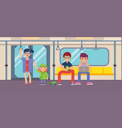 metro with people flat design vector image