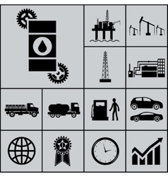 Oil extraction processing use icons and symbols vector